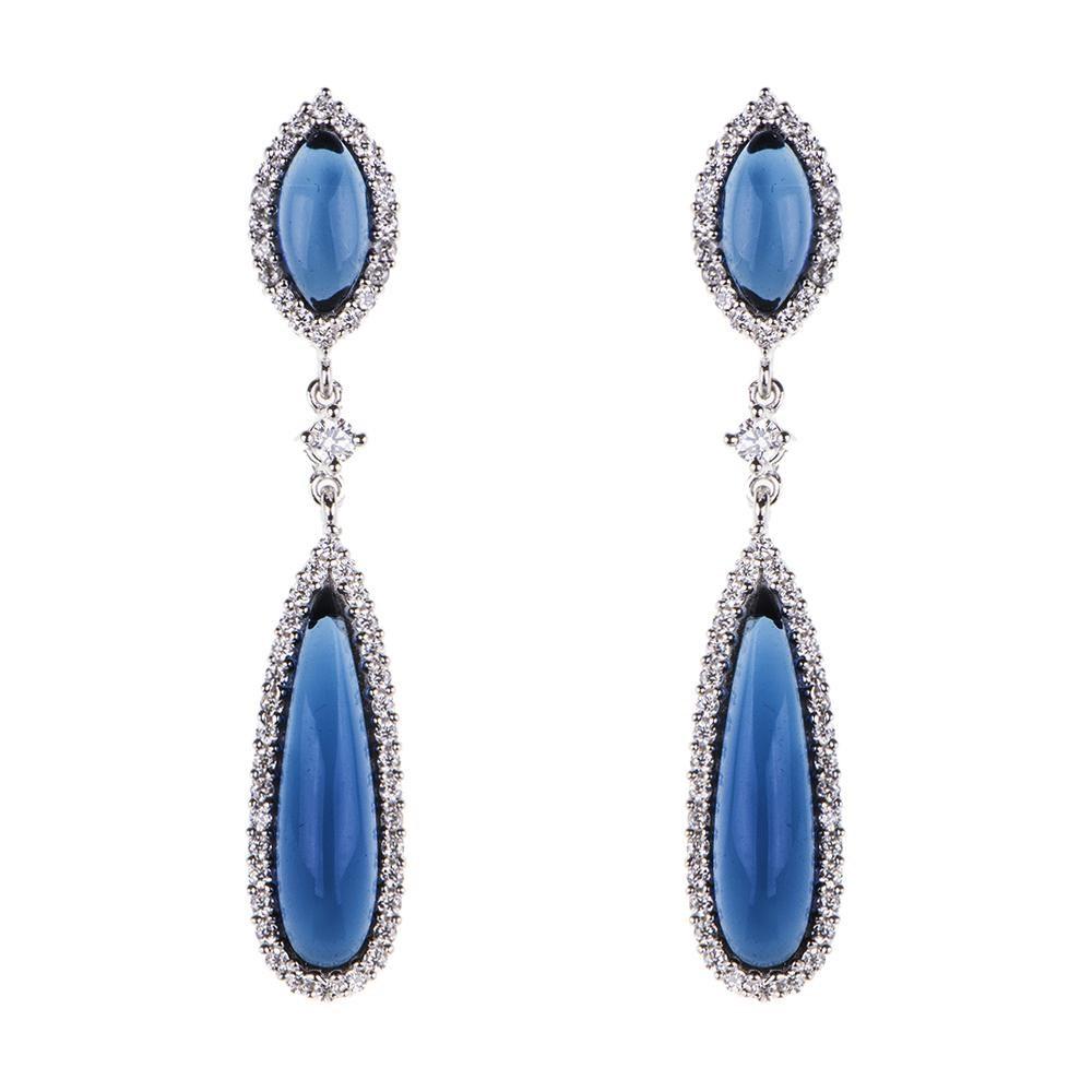 Pendiente de plata con circonitas y cristal azul